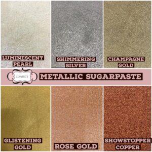 6 shades of metallic Sugarpaste @250 gms